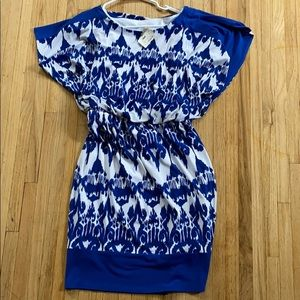 Sangria blue and white pattern dress
